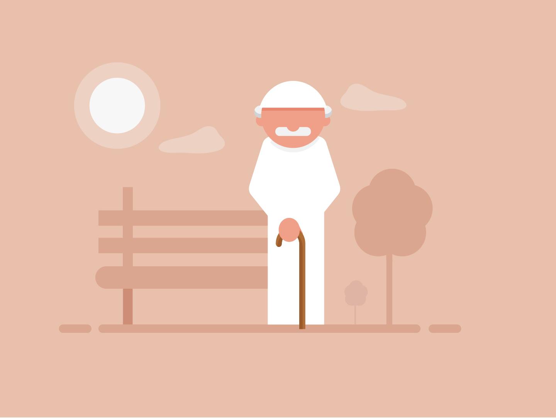 Arabian old man flat illustaration arab man old