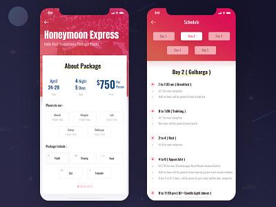 Tour Package App honeymoon app iphonex ios schedule honeymoon trip tour ux ui