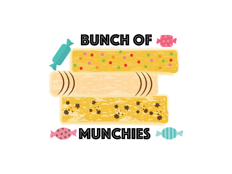 Bunch Of Munchies choclates rice crisps concept logo food