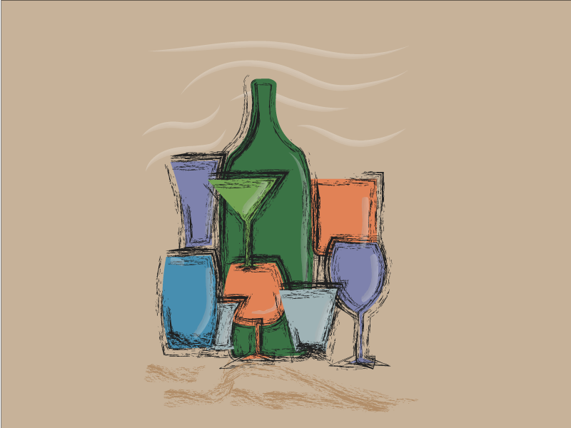 Right Tools For Right Drink illustrator impressionism drinks alcohol