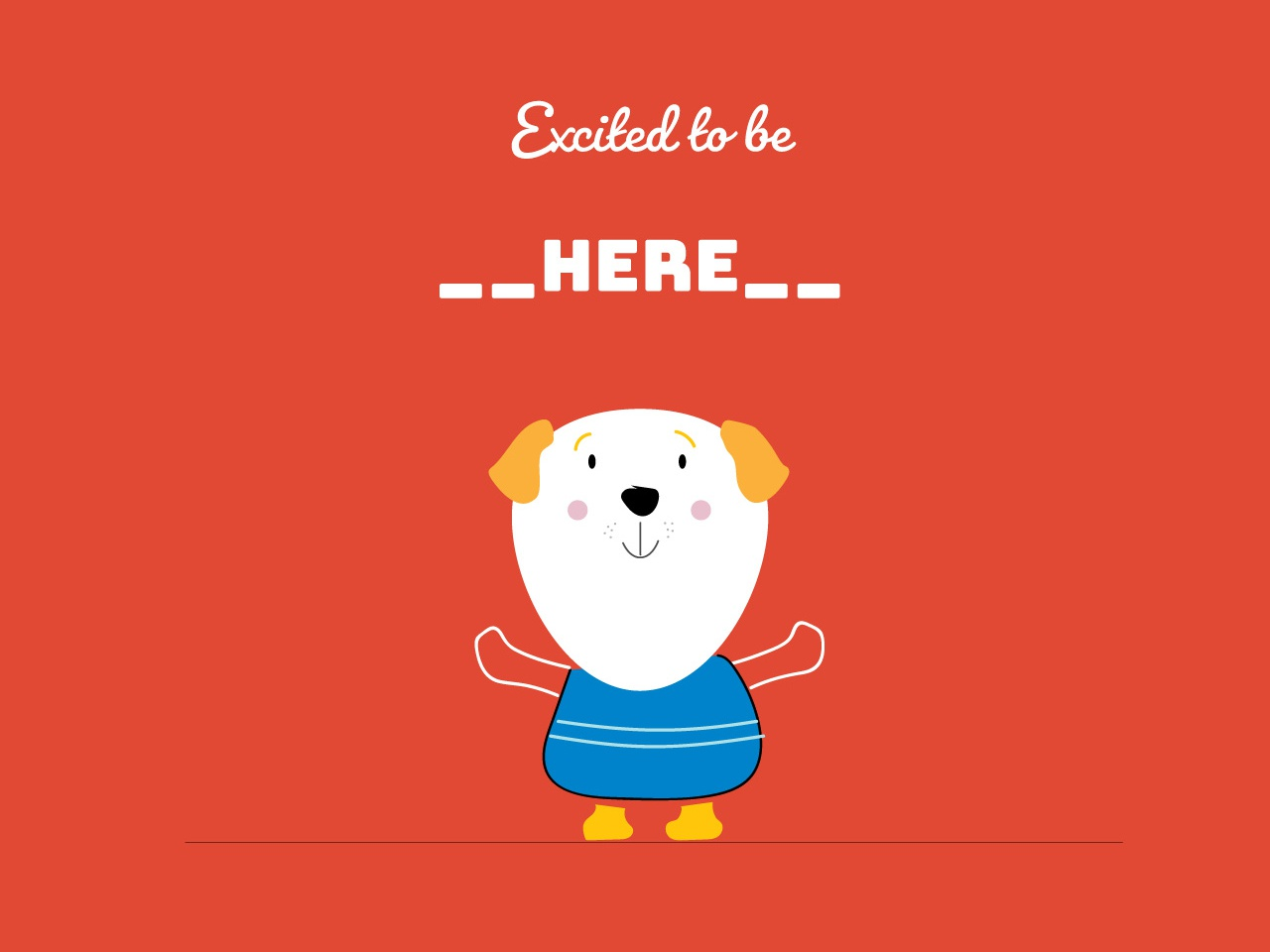 Excited to be here happy animal concept flat illustrator