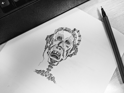 Sketch skeleton face face sketch character illustration line black and white pen drawing drawing sketch