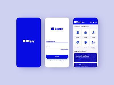 App Clopay mobile app wireframe uiux design login blue visual design ux design uidesign app design