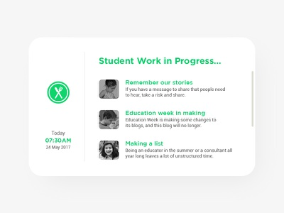 Student work in progress card landing page typography green ui icons color page website uiux design branding visual design