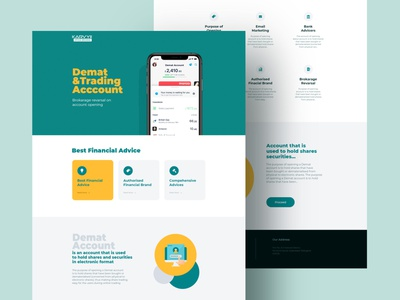 Demat Account page wireframe ui ux design ui design yellow landing design landing page