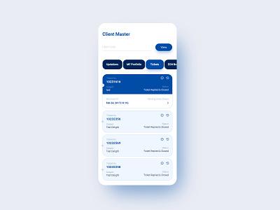 Client Master Mobile App app mobile design card design input field blue button accordion tabs design icons page uiux design branding visual design