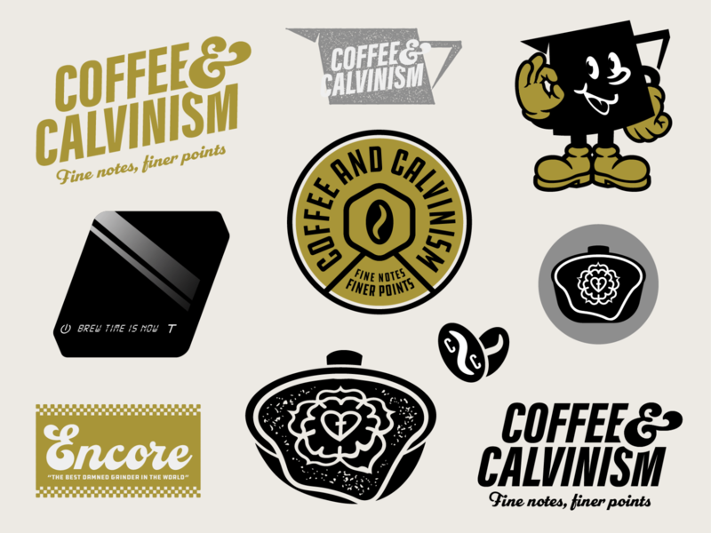 Coffee and Calvinism logo design coffee branding vector illustration