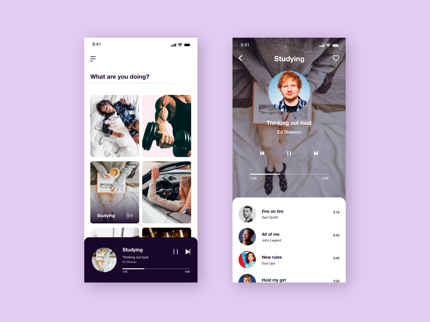 Moment-based Music app web design app ux ui