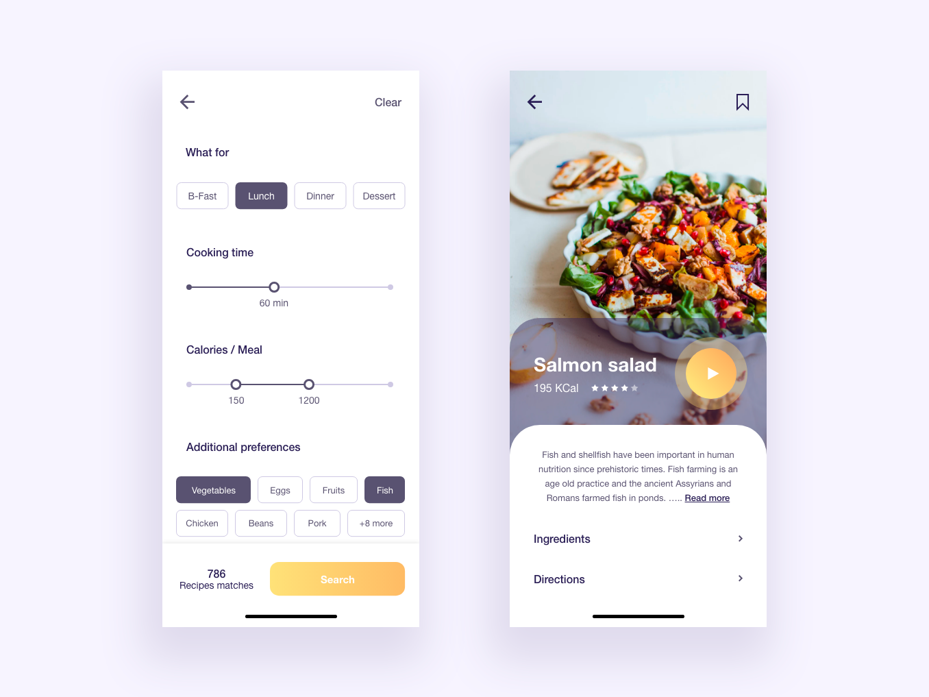Recipe finder App recipe card cook app cooking cook food app food recipe app recipe ux design ui design interaction design design app web ux ui