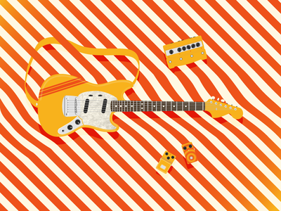 Stripy Mustang guitar pedals stripes guitar mustang