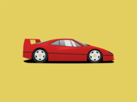 F40 Anyone? vector illustration shadow rims gold f40 ferrari red sports car car