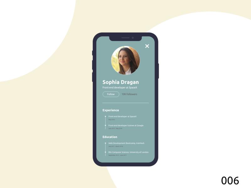 Daily UI005 | User Profile userprofile user account user app design ux ui dailyui