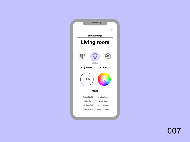 Daily UI 007 | Settings smarthome smart light home vector clean app design ux ui dailyui