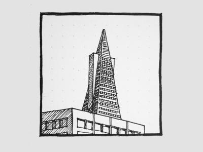 Transamerica Pyramid: Hand sketch hand sketch graphic design sketch design drawing architecture