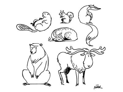 Forest animal sketch sketchy illustration
