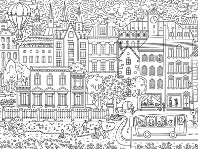 Sketchy city landscape blackandwhite sketch city