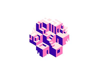Cubic Huts block 3d seven cube isometric