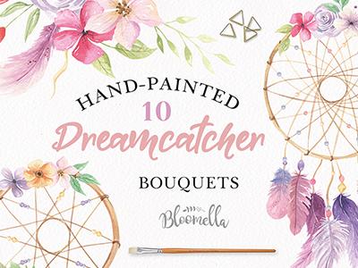 Dreamcatcher Watercolour Clipart Floral Set