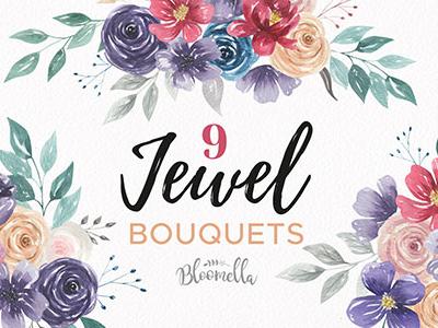 Jewel Bouquets Watercolour Floral Set