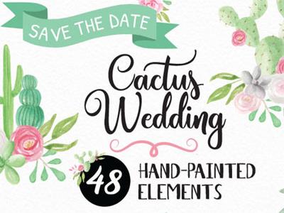 Cactus Wedding Watercolour Hand Drawn Elements Set