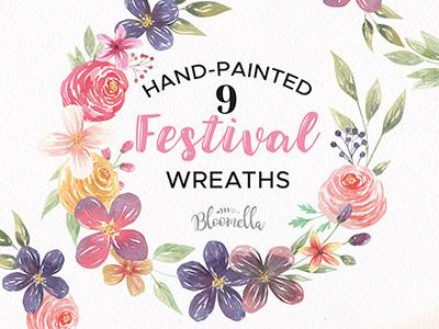 Watercolor Festival Floral Clipart Wreaths