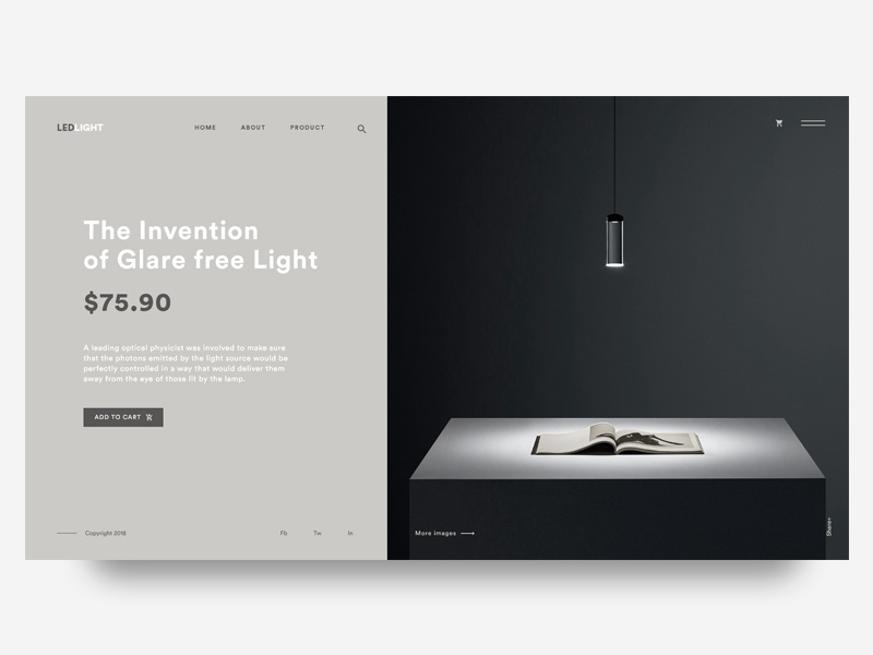 Daily UI Challenge #002- The Invention of Glare free Light interaction minimal black landing design web ux ui
