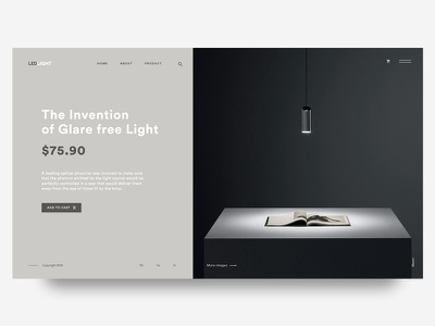 Daily UI Challenge #002- The Invention of Glare free Light interaction minimal black landing design web ux ui