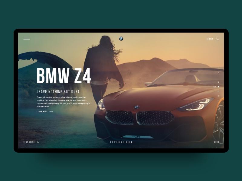 Daily UI Challenge #004 - BMW Z4  |  Landing Page bmw brand bmw concept minimal webdesign web ux ui