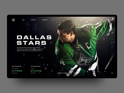 Daily UI Challenge #005 - Dallas Stars   Landing Page sports minimal landing black brand webdesign web ux ui
