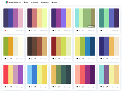 Hex Palette - Palettes Design design palette color palettes colors palette colors