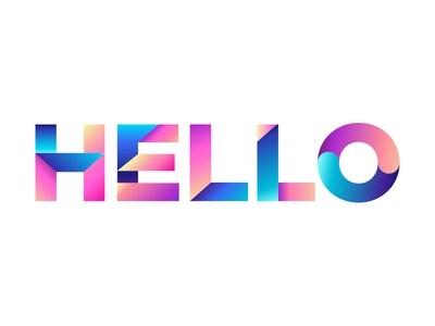 Hello Dribbble digital art typographie hello illustrator design colours type
