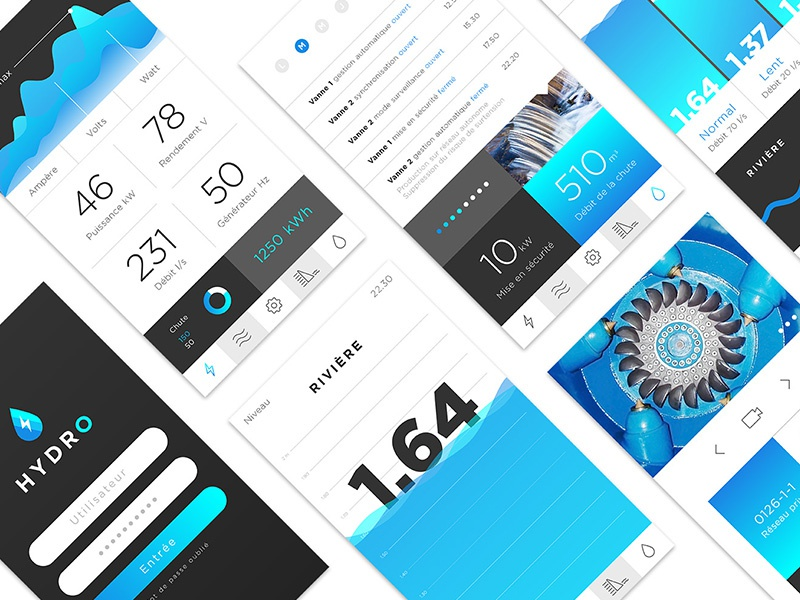 Hydro mobile app electricity water digital design ux ui