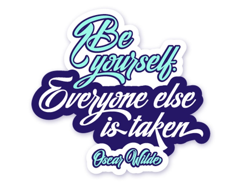 Be Yourself type blue inspiration quote design logo