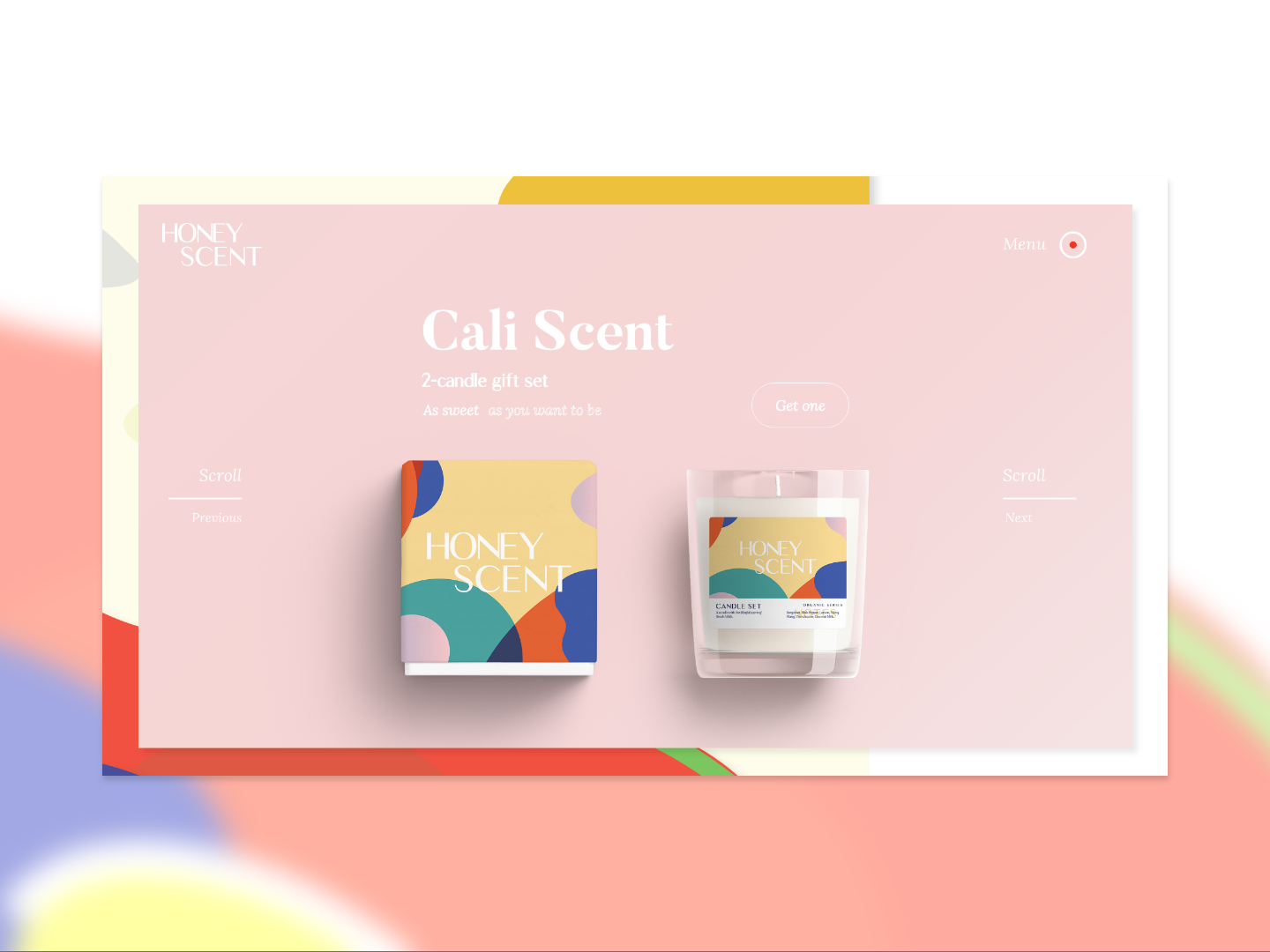 Honey Scent - Logo, Package Design and Landing Page Mock webdesig ui print logo branding