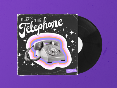 19Tracks | Bless The Telephone procreate design lettering album cover illustration space universe stars music art alphabet telephone collage album music 70s script font typography album art