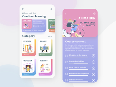 Online Course App online course online learning elearning courses elearning pastel gradient illustration images colorful ui colors sketch ios app concept app iosdesign app design uxdesign mockup ui uidesign