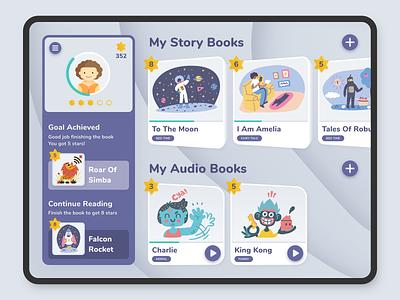 Kids Book Reading iPad App (WIP) illustration ipad pro ipad book reading storybook audiobook kids book kids sketch ios app concept app iosdesign invision app design uxdesign mockup ui uidesign