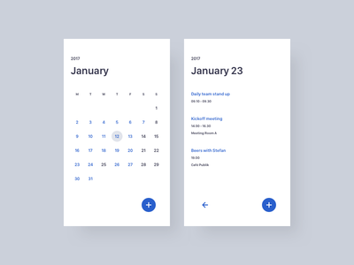 Calendar agenda calendar ux ui mobile minimal design dailyui daily app 038
