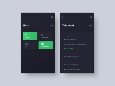 ToDo List todo list interface to-do todo ux ui mobile minimal dailyui daily app 042