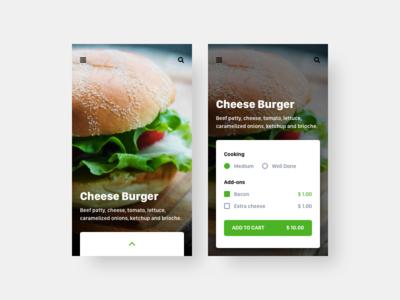 Food/Drink Menu card menu food drink ux ui mobile interface dailyui daily app 043