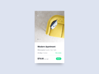Accommodation Marketplace room travel apartment booking renting ux ui simple mobile minimal interface app