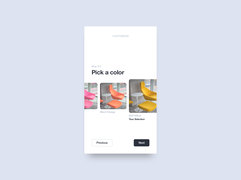 Customize Product shop carousel customize product ux ui mobile minimal interface dailyui daily app 033