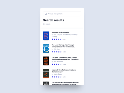 Search Results app clean interface minimal mobile ui ux book books results search