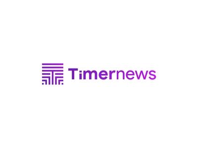 Timernews Logo logomark icons blog news combination mark iconmark typeface icon identity lettermark design logo minimal typography branding