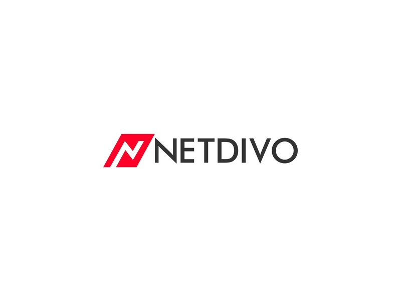 Netdivo technology flat vector graphicdesign lettermark typography design online digital marketing agency tech web icon identity logo minimal branding