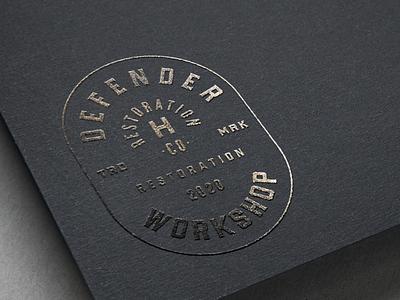 Defender Workshop restoration defender land rover logo branding automotive