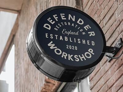 Defender Workshop : Sign Concept restoration garage automotive signage branding logo