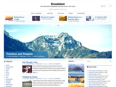 Broadsheet, WordPress Theme, Full Page View wordpress theme newspaper white