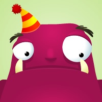 Party time for the inquisitive little monster monster purple party illustration cartoon
