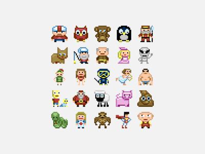 Pixel Characters pixels pixel art cartoon
